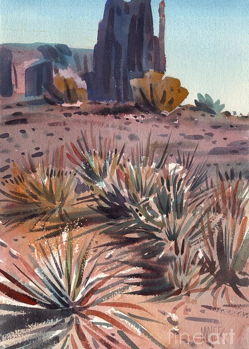 Watercolor Greeting Card featuring the painting Left Mitten And Yucca by Donald Maier