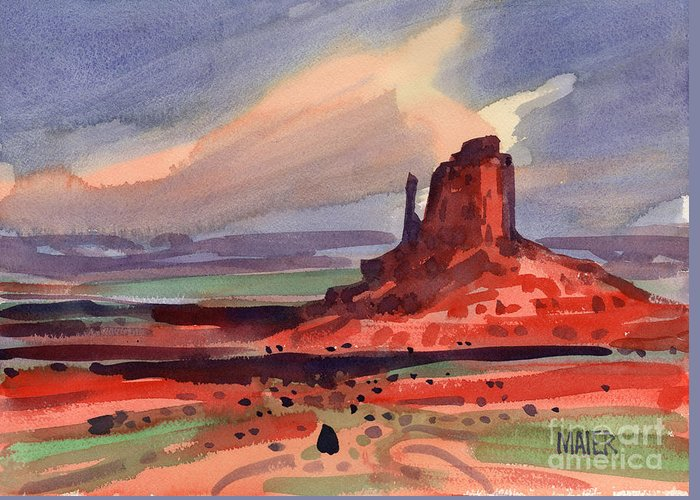 Left Mitten Greeting Card featuring the painting Left Mitten at Sunset by Donald Maier