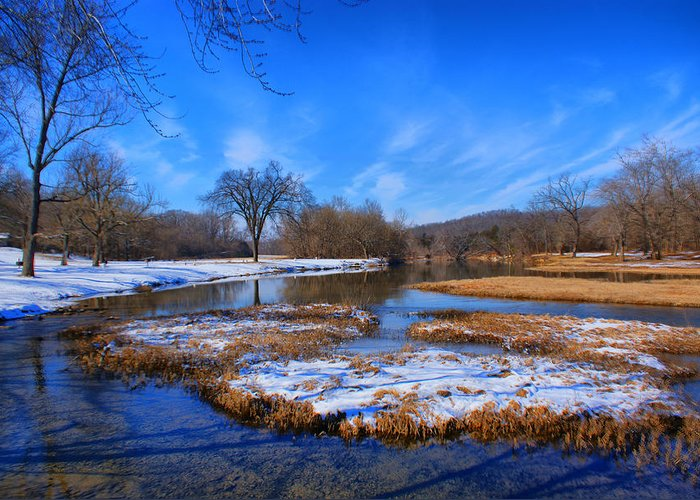 Landscape Greeting Card featuring the photograph Leftover Snow by Rick Friedle