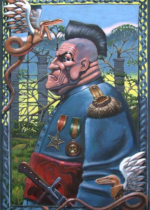 Surreal Greeting Card featuring the painting Legatvs Legionis by Mariusz Loszakiewicz
