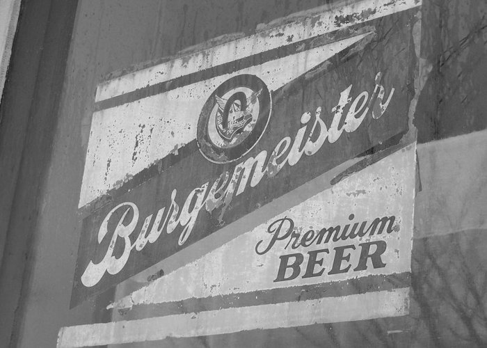 Beer Sign In Town Window Greeting Card featuring the photograph Legend by Joseph Norvell