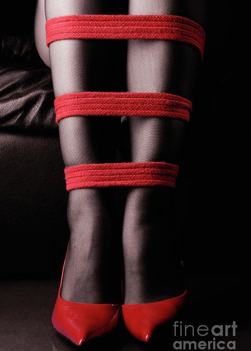 Legs Greeting Card featuring the photograph Legs In Red Ropes by Oleksiy Maksymenko
