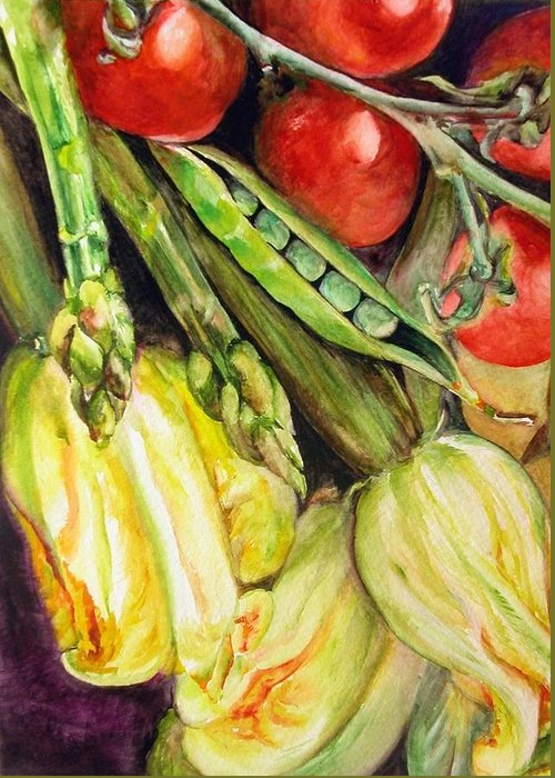Still Life Greeting Card featuring the painting Legumes by Muriel Dolemieux
