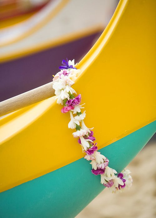 Akau Greeting Card featuring the photograph Lei Draped Over Outrigger by Dana Edmunds - Printscapes