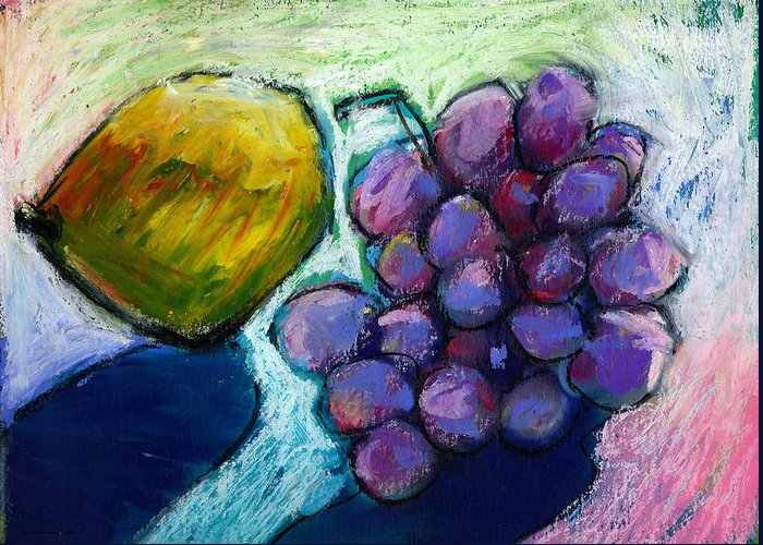 Lemon Greeting Card featuring the painting Lemon And Grapes by Angelina Marino