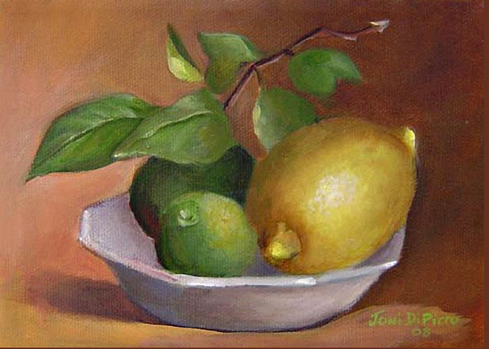 Still Life Greeting Card featuring the painting Lemon And Limes Still Life by Joni Dipirro