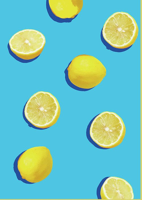 Lemon Greeting Card featuring the digital art Lemon Pattern by Rafael Farias