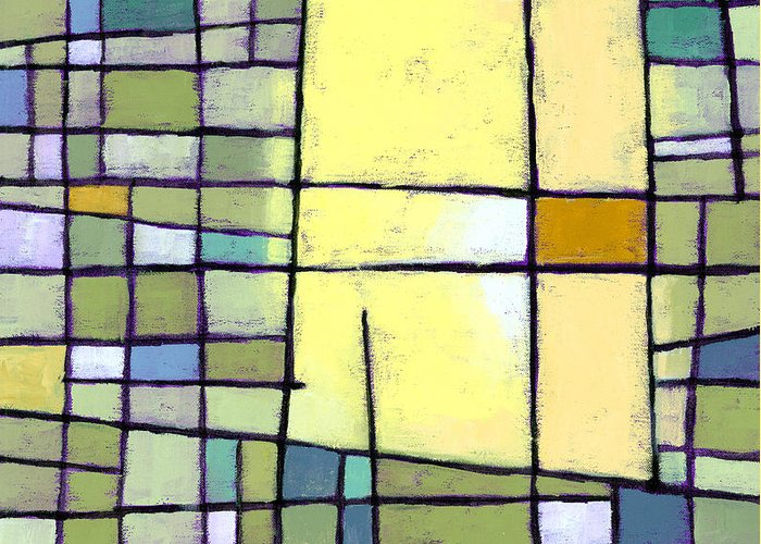 Abstract Greeting Card featuring the painting Lemon Squeeze by Douglas Simonson