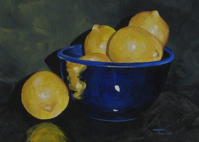 Lemons Greeting Card featuring the painting Lemons And Blue Bowl IIi by Torrie Smiley