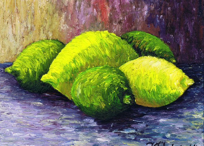 Lemons And Limes Greeting Card featuring the painting Lemons And Limes by Kamil Swiatek