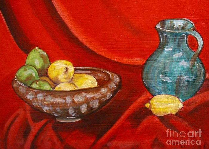 Still Life Greeting Card featuring the painting Lemons And Limes by Mary Capriole