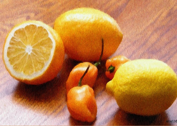 Food Greeting Card featuring the painting Lemons And Peppers by Jeff Kolker