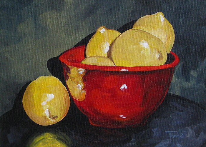 Red Bowl Greeting Card featuring the painting Lemons And Red Bowl IIi by Torrie Smiley