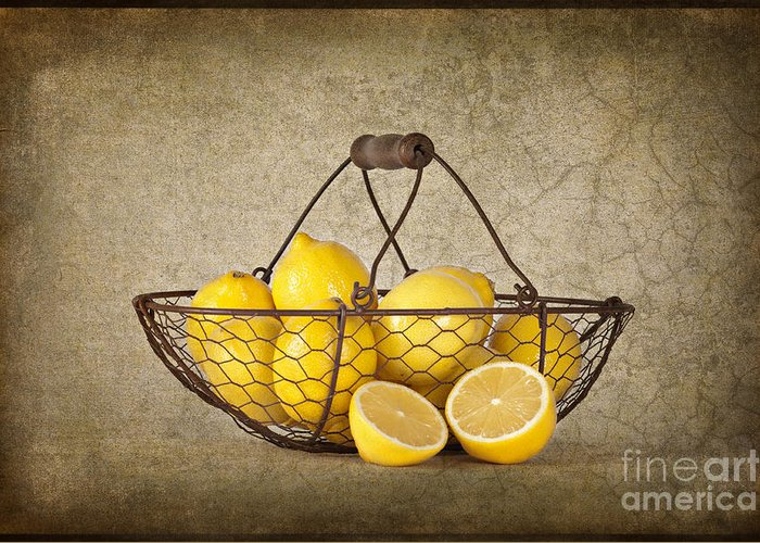 Lemons Greeting Card featuring the photograph Lemons by Heather Swan