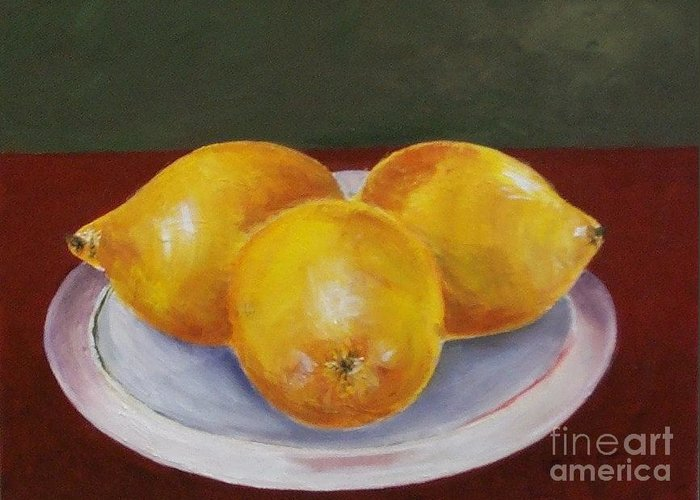 Lemon Greeting Card featuring the painting Lemons by Jeanie Watson