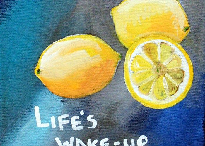 Lemon Greeting Card featuring the painting Lemons by Linda Woods
