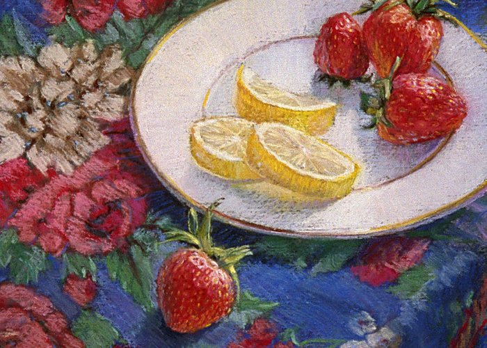 Still Life Greeting Card featuring the painting Lemons N Berries by L Diane Johnson