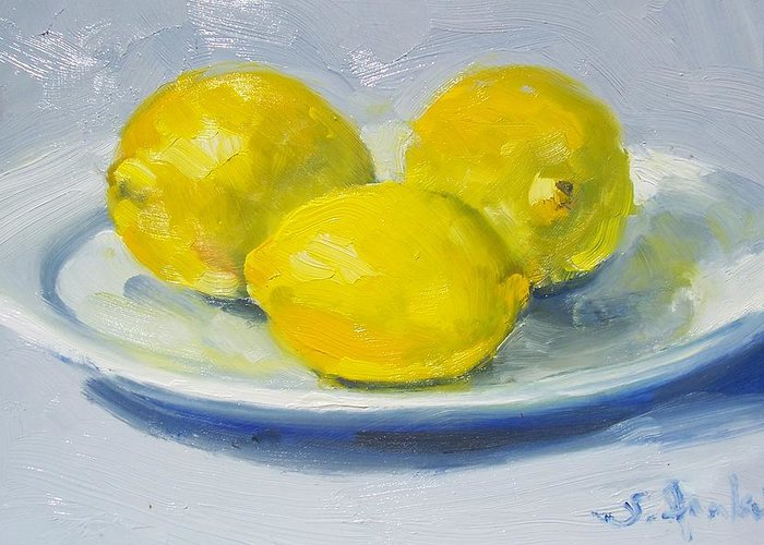 Still Life Greeting Card featuring the painting Lemons On A White Plate by Susan Jenkins