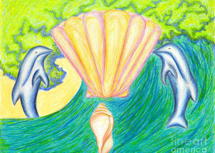 Abstract Greeting Card featuring the drawing Lemuria Atlantis by Kim Sy Ok