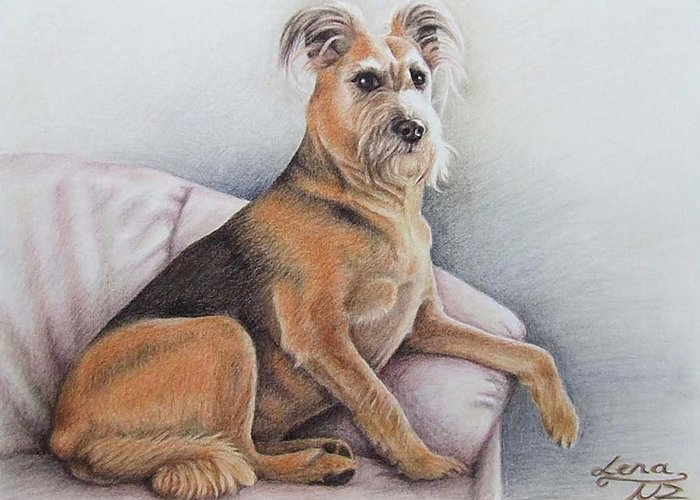 Dog Greeting Card featuring the pastel Lena by Nicole Zeug
