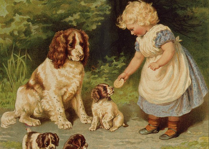 Puppies Greeting Card featuring the painting Lena's Pets by English School