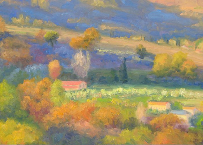 Tuscany Greeting Card featuring the painting Lengthening Shadows - Tuscany by Bunny Oliver