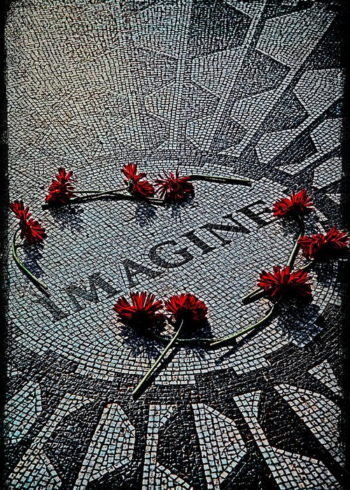Imagine Greeting Card featuring the photograph Lennon Memorial by Chris Lord