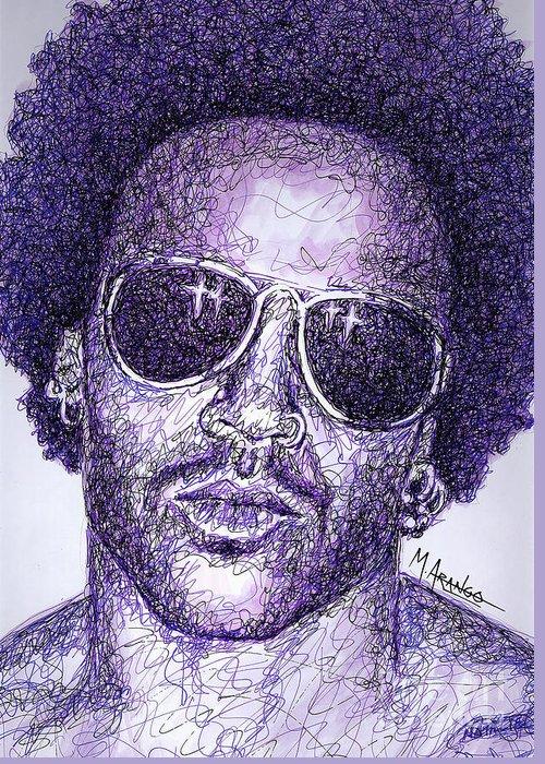 Lenny Kravitz Greeting Card featuring the drawing Lenny Kravitz by Maria Arango