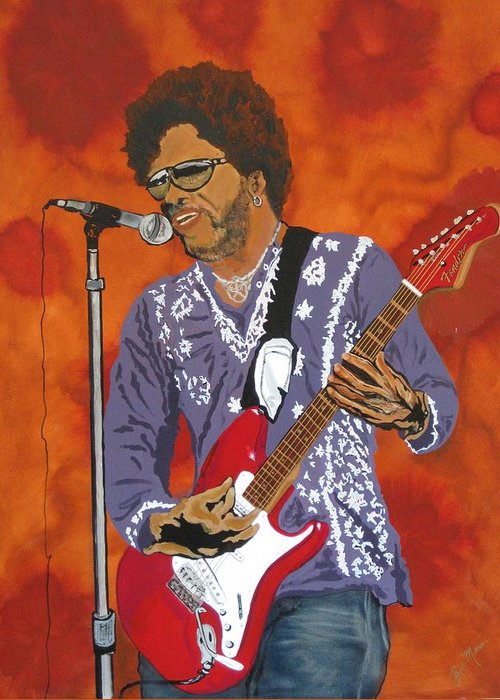 Lenny Kravitz Greeting Card featuring the painting Lenny Kravitz-the Rebirth Of Rock by Bill Manson