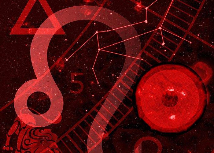 Horoscope Greeting Card featuring the digital art Leo by JP Rhea