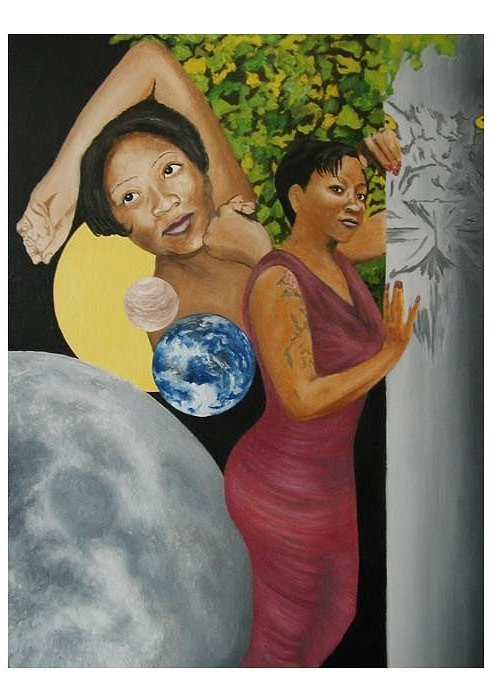 Portrait Greeting Card featuring the painting Leo Queen Tiffany by Angelo Thomas