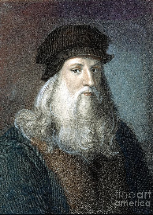 15th Century Greeting Card featuring the photograph Leonardo Da Vinci - To License For Professional Use Visit Granger.com by Granger
