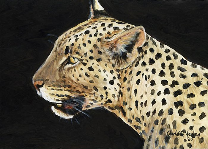 Leopard Greeting Card featuring the painting Leopard by Charlotte Yealey