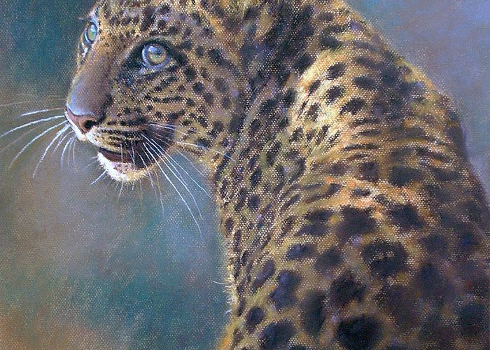 Cats Greeting Card featuring the pastel Leopard by Iliyan Bozhanov