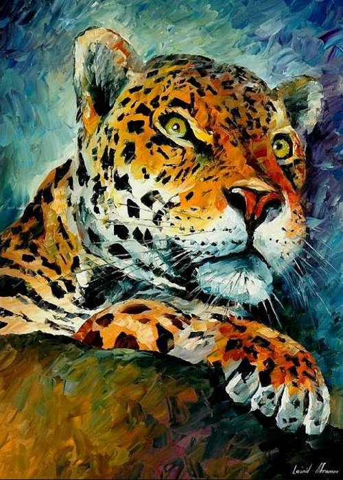 Animals Greeting Card featuring the painting Leopard by Leonid Afremov