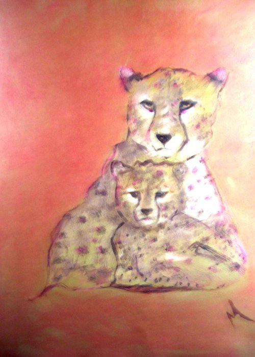 Wildlife Greeting Card featuring the painting Leopard Love by Michela Akers