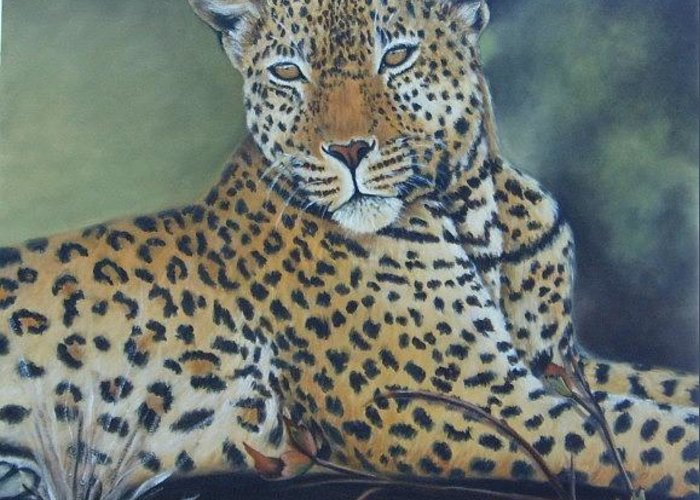 Leopard Greeting Card featuring the painting Leopard by Nellie Visser