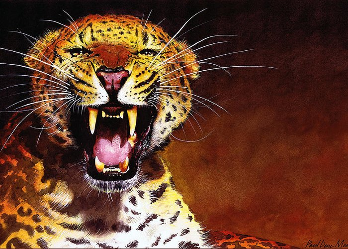 Leopard Greeting Card featuring the painting Leopard by Paul Dene Marlor