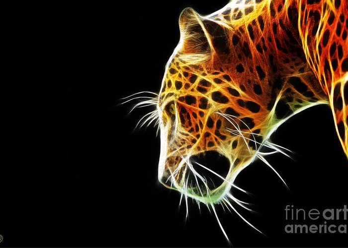 Leopard Greeting Card featuring the digital art Leopard by The DigArtisT