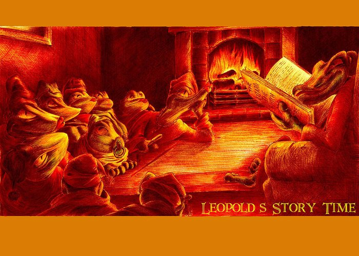 Lizard Greeting Card featuring the drawing Leopold's Storytime by Martin Williams