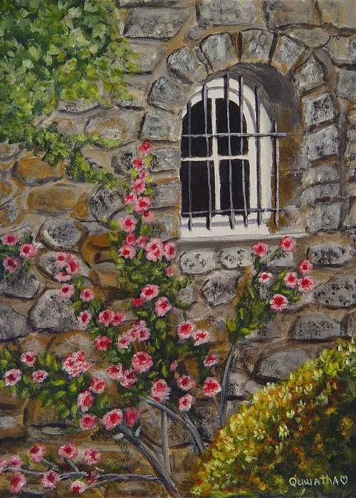 Window Greeting Card featuring the painting Les Arcs Sur Argens by Quwatha Valentine