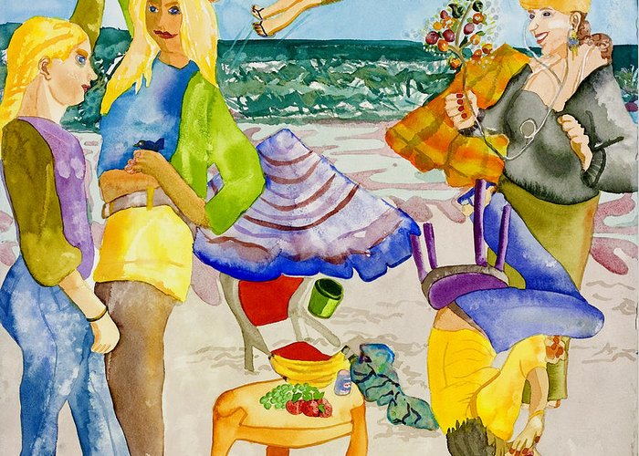 Girls Greeting Card featuring the painting Les Demoiselles Of Santa Cruz V4 by Susan Cafarelli Burke