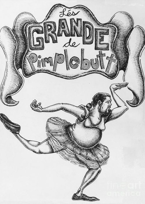 Comic Greeting Card featuring the drawing Les Grande De Pimplebutt by Mack Galixtar