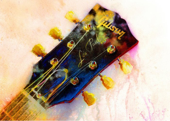 Guitar Art Greeting Card featuring the painting Les Is More by Andrew King