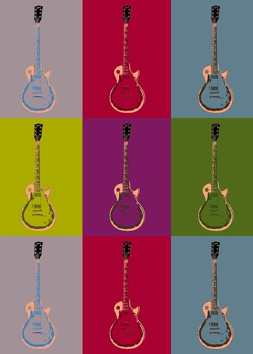 Les Paul Colorful Poster Greeting Card featuring the digital art Les Paul Colorful Poster by Dan Sproul