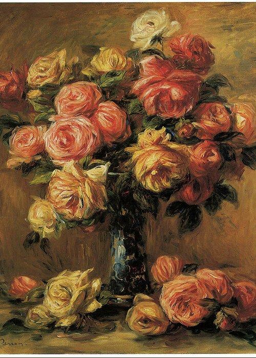 Pierre-auguste Renoir Greeting Card featuring the painting Les Roses Dans Un Vase by Pierre-Auguste Renoir