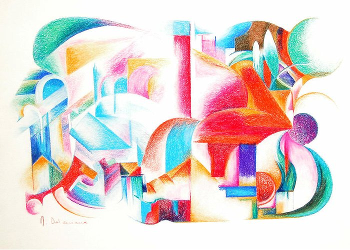Abstract Greeting Card featuring the drawing Les Temps Modernes by Muriel Dolemieux
