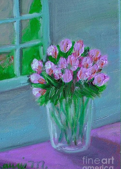 Rose Greeting Card featuring the painting Leslie's Roses by Laurie Morgan