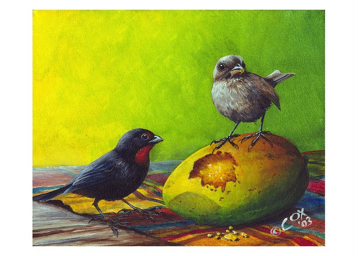 Chris Cox Greeting Card featuring the painting Lesser Antillean Bullfinches And Mango by Christopher Cox