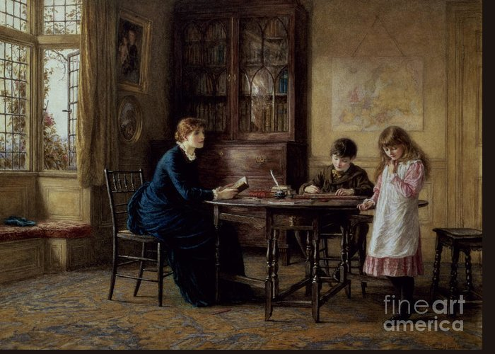 Governess; Inkwell; Quill Pen; Leaded Windows; Schoolroom; Classroom; Teacher; Book Case; Victorian; Lessons Greeting Card featuring the painting Lessons by Helen Allingham
